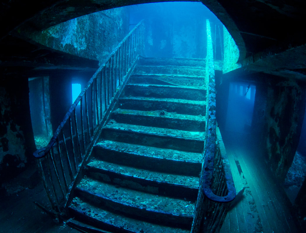 Picture of the MV Karwela staircase from a guided dive.